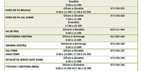 Actualització horaris establiments del municipi