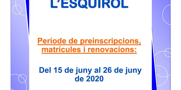 Preinscripcions a la Llar d'Infants l'Esquirol del 15 al 26 de juny